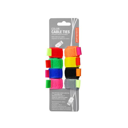 color cable ties set of 8 kikkerland jp