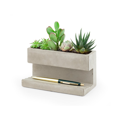 "Concrete Desktop Planter ""L"""