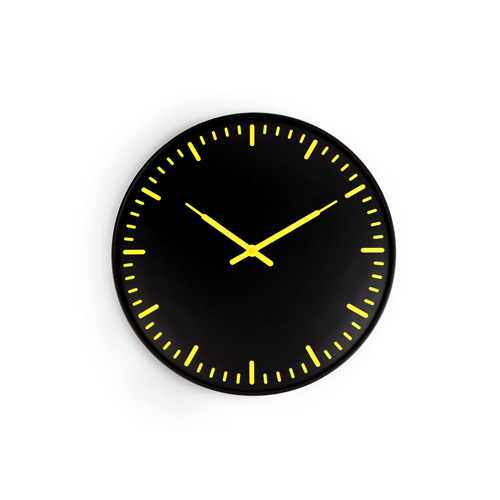 "Ultra Flat Wall Clock ""Black & Yellow"""
