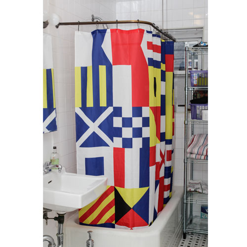 Nautical flag shower curtain kikkerland jp