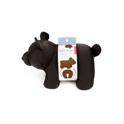 "Bear Zip & Flip Travel Pillow ""Black"""