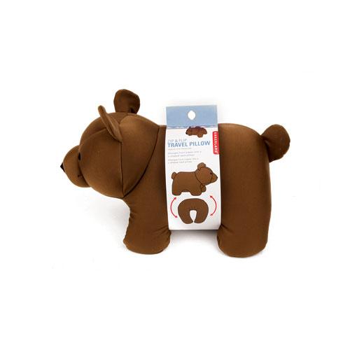 """Bear Zip & Flip Travel Pillow """"Brown"""""""